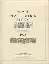 SCOTT Plate Block Album for US 20th Century Commoratives - 1978 Stamp Booklet