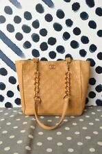 100% Authentic CHANEL Beige Quilted Lambskin Leather Fairy Tote Bag Shoulder EUC