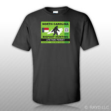 North Carolina Bigfoot Hunting Permit T-Shirt Tee Shirt Sasquatch Lifetime