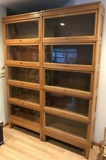 Pair of 1930's Barrister Bookcases lawyer stacking light oak Bookcase