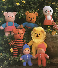 KNITTING PATTERN Jean Greenhowe Super 7 Toys Lion Piglet Panda Teddy Tiger RARE