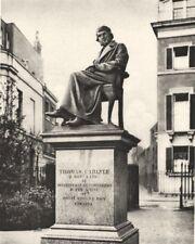 LONDON. In Cheyne Walk Gardens Thomas Carlyle Eternally Ponders philosophy 1926