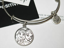 ALEX AND ANI DISNEY PARKS FROZEN ELSA & ANNA CHARM BANGLE BRACELET-NEW-SILVER
