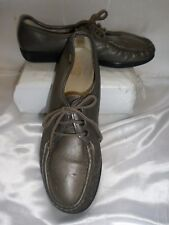 SAS Siesta Women's Pewter Leather Lace Up Comfort Oxford Shoes Size 11 N ~EUC