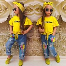 kids clothing girls, Summer Clothes For Girls. Yellow Cotton Shirt And Jeans.