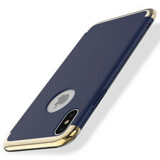 For Apple iPhone X Shockproof Ultra Thin Slim Stylish Hard Case in Blue and Gold
