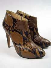 GIUSEPPE ZANOTTI Black Brown Snakeskin Leather Ankle High Heels Boots Sz 38