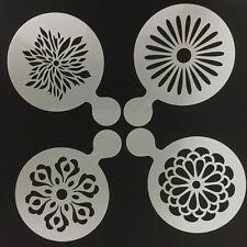 4Pcs Leaf Flowers Cake Cappuccino Decorating Stencils Latte Coffee Decor Mold