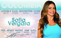 Sofia Vergara plastic ID card Drivers License star of Modern Family
