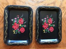 2 Vintage Mid Century Floral Tip Vanity Jewelry Trinket Tole Trays Gorgeous