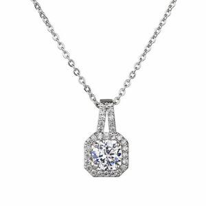 Luxury Blingbling Stone Zircon Square Pendant Neckalce Girls Gifts Jewelry