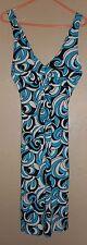 EUC Harolds BLUE, BLACK & White floral STRETCH Halter sleeveless SunDress sz 0