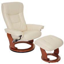 Leder Relaxsessel 360° drehbar mit Hocker TV Sessel Fernsehsessel creme 56050