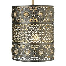 NEW SILVER MOROCCAN FLOWER Cut Out BEADED LIGHT PENDANT CEILING SHADE Lampshade