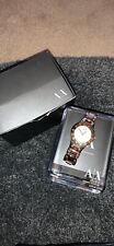 Armani Exchange AX4091 Lady 50m Rose Gold Tone Analog Quartz Watch Hour~New Batt