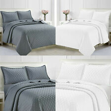 Quilted Embossed Bedspread Bed Throw With Pillow Shams Single Double King Size
