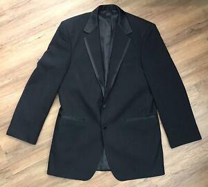 WILKE RODRIGUEZ Men's Black Modern Satin Edged Notch Lapel Tux Jacket Size 41 L