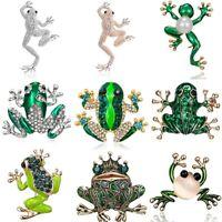 Fashion Pearl Crystal Rhinestone Frog Animals Enamel Brooch Pin Womens Jewellery
