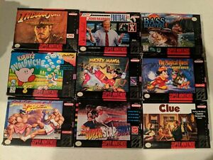 Super Nintendo SNES Box Lot Various Conditions - Mickey Mania Kirby's Avalanche