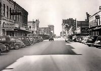 "1937 View, AUSTIN TEXAS, SIXTH STREET, old autos downtown 24""x18"" vintage photo"