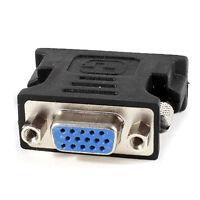 2 Pcs DVI-I 24+5 Pin Male Analog to VGA 15 Pin Female Adapter Black