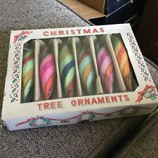 Box of 6 Vintage Christmas Tree Ornaments Striped Teardrop Icicles with glitter