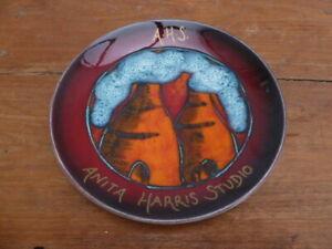 "ANITA HARRIS HAND PAINTED 8"" PLATE *RARE* KILN DESIGN"