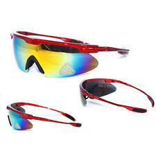 New Men Sport Sunglasses Wrap Mirrored Eyewear Biker Motorcycle Red/Yellow