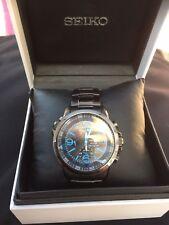 Seiko Solar Alarm Chronograph Black Ion Plated Mens Sport Watch SSC079P1