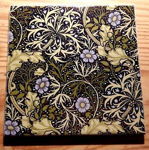 "William Morris tile coaster ""Seaweed""  (9 designs available)"