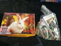 Chad Valley - White Bunny Rabbit 500 piece Jigsaw Puzzle Complete Vintage Easter