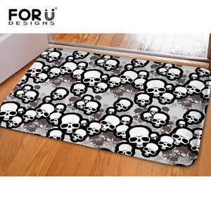 Skull Anti-skid Flannel Area Rug Modern Living Room Carpet Comfy Bedroom Floor