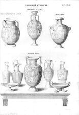 Stampa antica VASI ETRUSCHI diverse forme con Soggetti Mitologici 1848 Old print