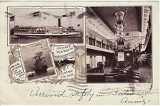 Antique SHIP POSTCARD c1902 Steamer Plymouth Boston, MA