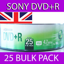 25 x SONY DVD+R x16 4.7GB BLANK MEDIA BULK RETAIL PACKED