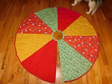 1970's Christmas Tree Skirt Handmade Quilt Panel w/ Little Gardening Girls