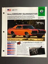 "1970 Mercury Cougar Eliminator IMP ""Hot Cars"" Spec Sheet Folder Brochure Awesome"