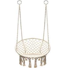 Macrame Hanging Swing Chair Outdoor Home Cotton Rope Net Hammock w/Hook 265lbs