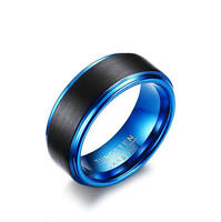Men's Matte Finished Black/Blue Tungsten Carbide Wedding Ring Band 9MM Size 7-12
