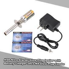Nice HSP Nitro Starter Kit Igniter with Battery Charger 2Pcs N4 Glow Plug U7C2
