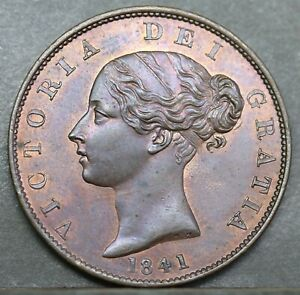 Victoria Young Head Copper Halfpenny, 1841, Lustrous aUNC
