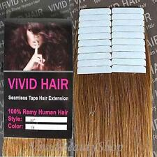 20pcs 22 inches Remy Seamless Tape Skin Weft Human Hair Extension Dark Blonde #7