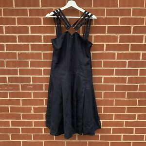 Calvin Klein Jeans navy blue women's linen shift dress strappy medium BNWT