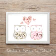 Owl Love Owls Valentines Boyfriend Girlfriend Personalised Word Art Print Gift