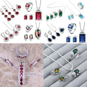 925 Silver Amethyst Heart Waterdrop Pendant Jewelry Women Necklace Earrings Set