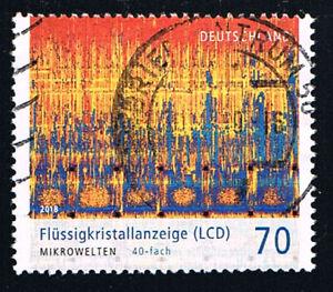 GERMANIA 1 FRANCOBOLLO MONDO MICROSCOPICO CRISTALLI LIQUIDI 2018 usato (BD5217)