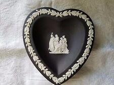 """Vtg Wedgwood Jasperware Black Heart Shaped Plate 4""""×4 1/4"""""""