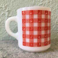 Vintage Hazel Atlas Milk Glass Red Picnic Checks Gingham Mug / Coffee Cup