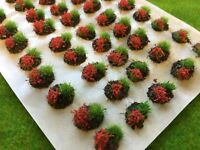 Red Mini Flower and Grass Dioramas -Model Scenery Static Tufts Basing Materials
