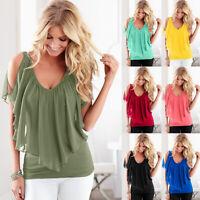 Womens Cold Shoulder T-Shirt Ruffle V-Neck Short Sleeve Summer Casual Blouse Top